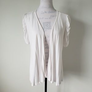 INC White Puff Sleeve Open Front Top Women Large